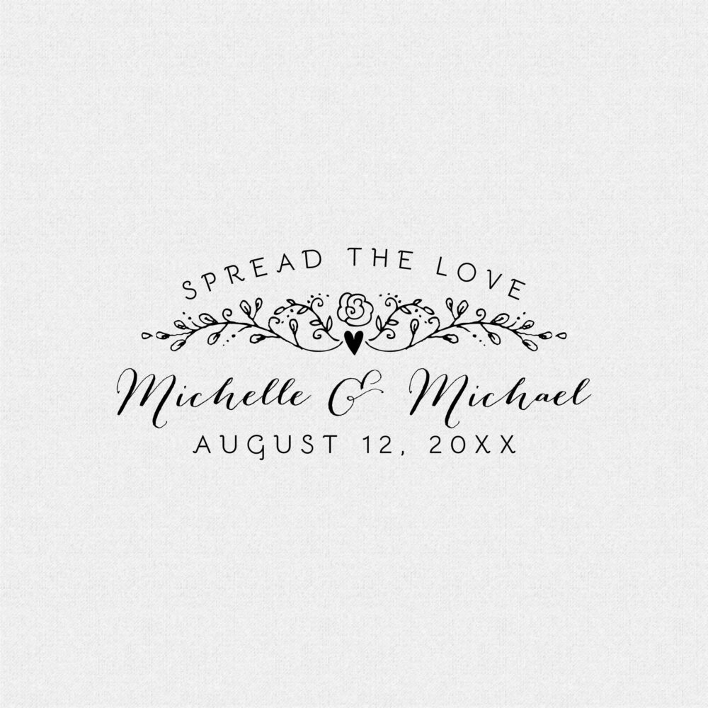 Personalized Spread The Love Vintage Cottage Chic Wedding Favor Stamp, Horizontal Stamp For Jam Jars, Jelly Or Honey | T468