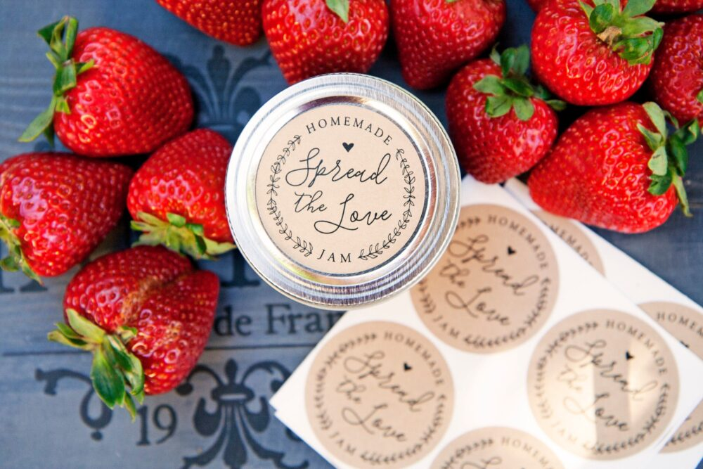 Spread The Love Stickers - Ball Jam Jar Labels Homemade Jelly Wedding Favors 20