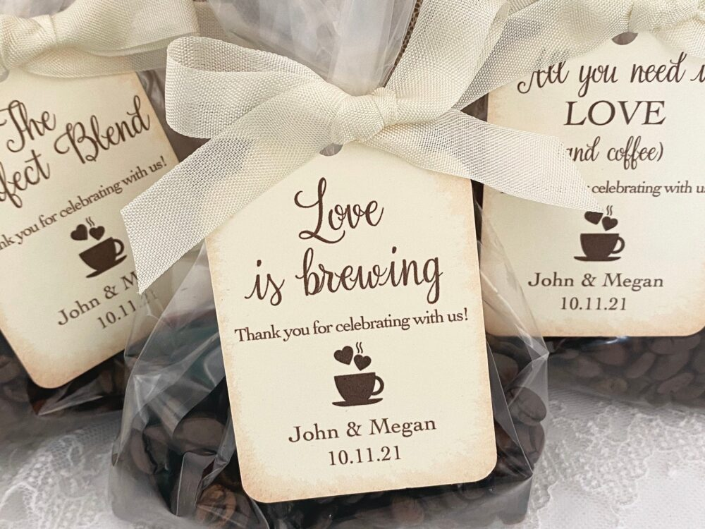 Wedding Coffee Favor Bags, Favors, Espresso Bean Personalized Printed