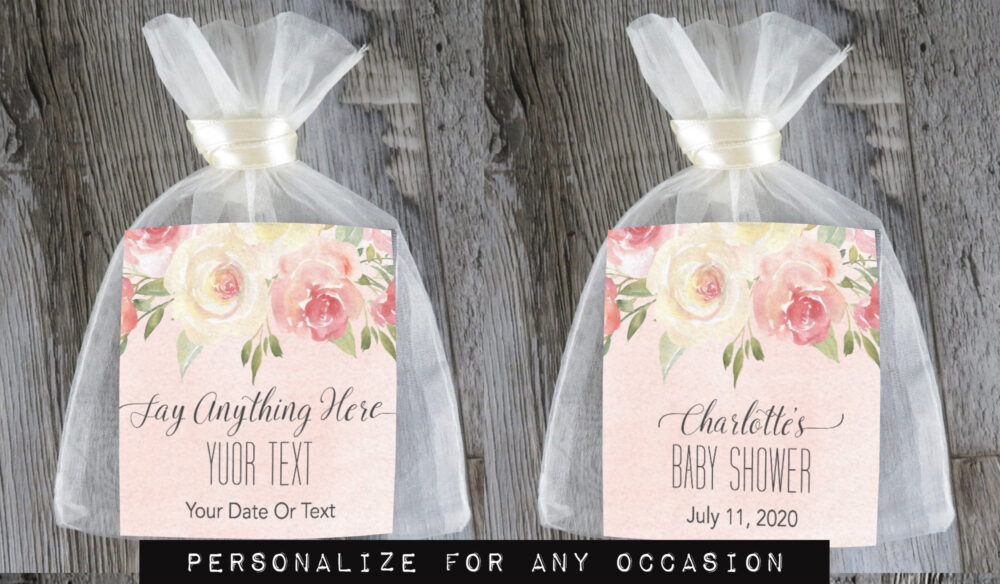 Tea Favors 10 Personalized & Fully Assembled | Any Occasion Wedding Favor Party Bridal Shower Blush Watercolor - Tf Bf
