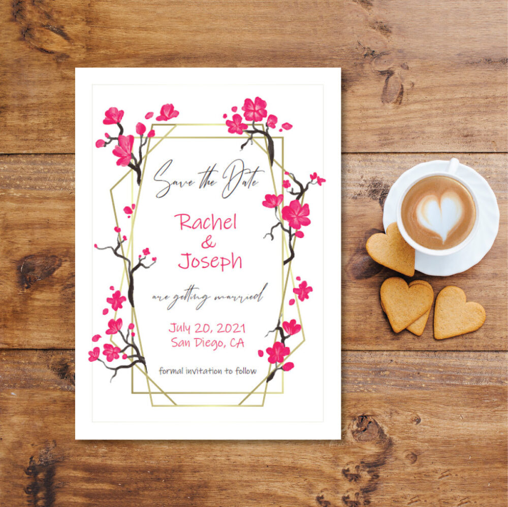 Printable Pink Flowers Save The Date/Cherry Blossoms Date Postcard/Pink Floral & Gold Frame Announcement