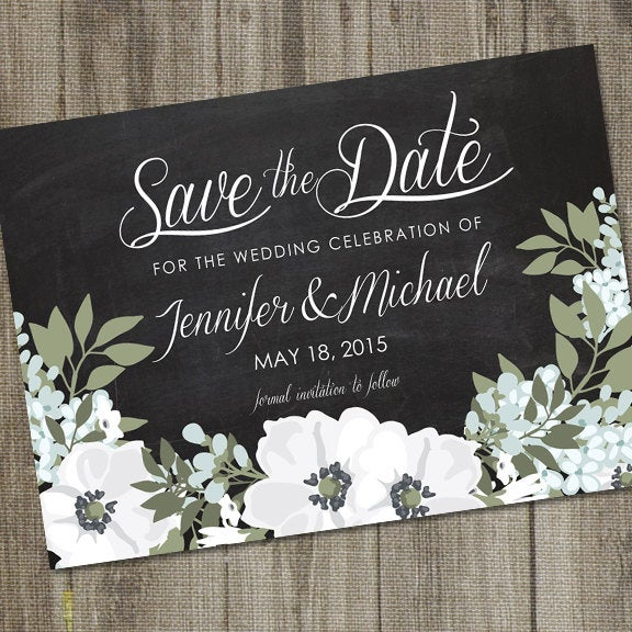 White Magnolia Save The Date, Printable, Botanical Wedding Announcement, Flowers Southern Date