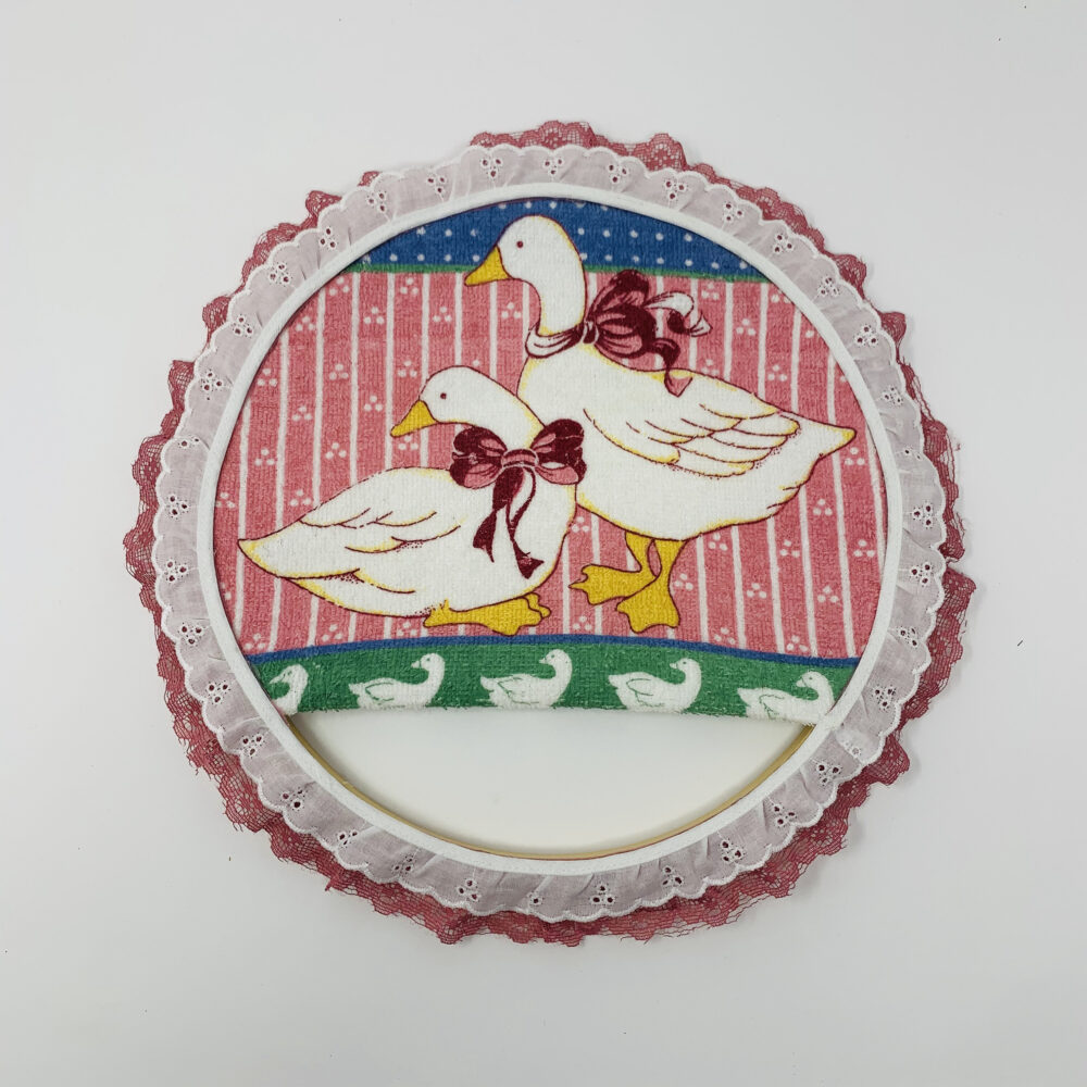 Embroidery Hoop Towel Holder.... Terry Cloth Towel Vintage Duck/Goose Pot Holder Wall Decor Lace Trim Amazing Details