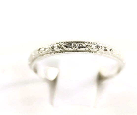 Art Deco Platinum Raised Floral Styled Wedding Band/Ring