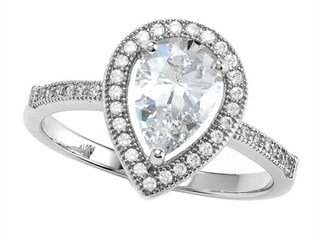 Zoe R™ 925 Sterling Silver Micro Pave Hand Set Cubic Zirconia (CZ) Pear Shape Engagement Ring