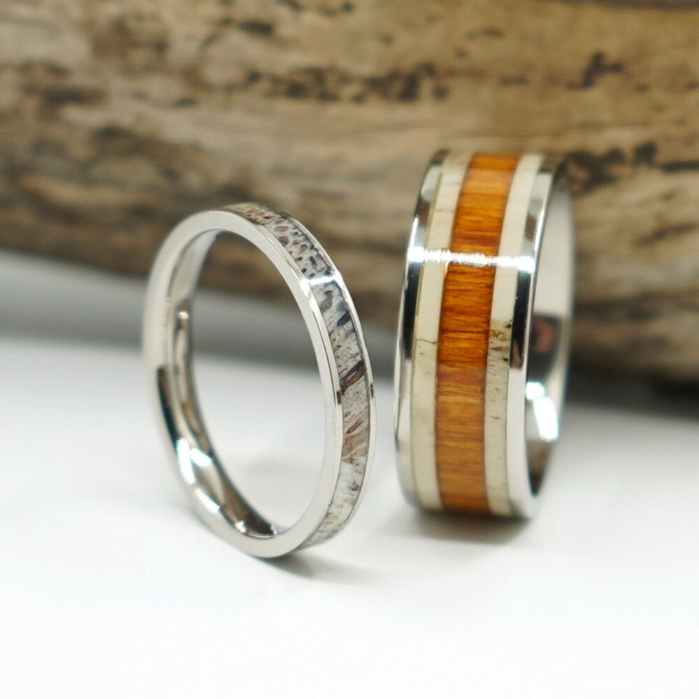 Antler Wood Ring Titanium Wedding Band Set With Inlay Anniversary His & Hers Promise For Men Women 8mm 3mm Free Custom Engraving