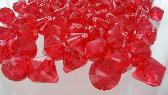 Red Acrylic Plastic Diamonds Pieces, Acrylic Vase Filler, Diamonds, Diamond Table Scatter, Confetti