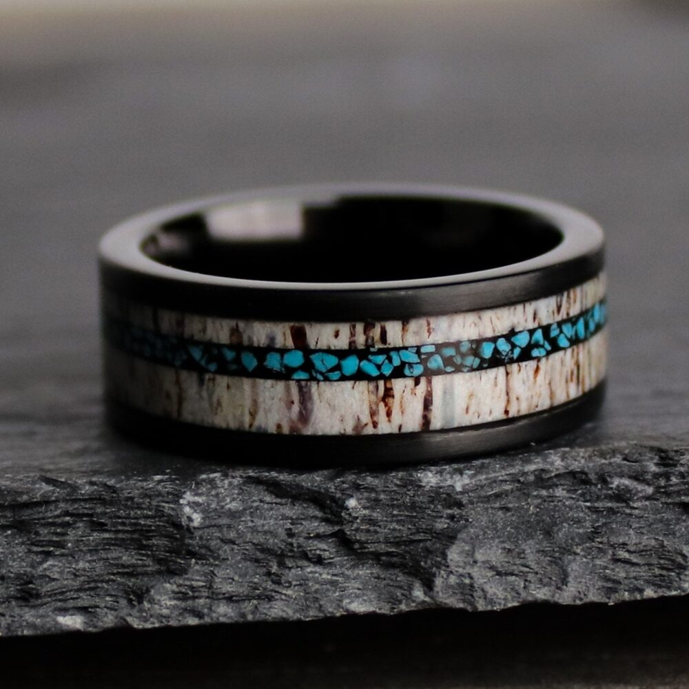 Arizona Turquoise & Antler Wedding Band, Outdoorsman Ring, Black Ceramic Men's Northbands