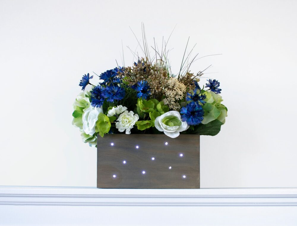 12x12x5.5 | Four Boxes Wedding Centerpiece | Lantern Rustic Wood Planter Box With Fairy Lights Flowers