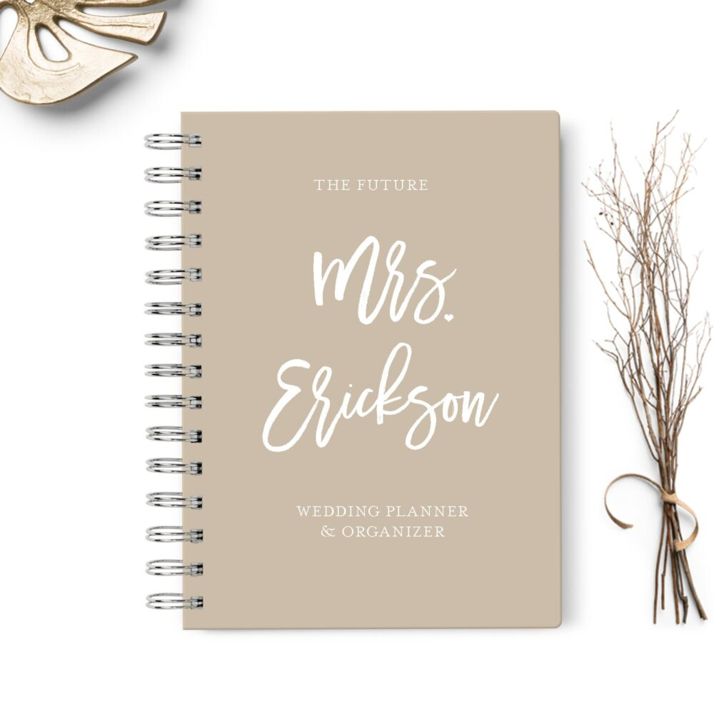 Wedding Planner Book, Event Planning Organizer, 6x8.75, Unique Gift For The Bride, Budget, Seating Chart Checklists, To Do List, Beige