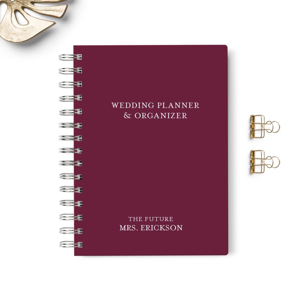 Wedding Planner Book, Event Planning Organizer, 6x8.75, Unique Bride Gift, Budget, Seating Chart Checklists, To Do List, Burgundy Maroon