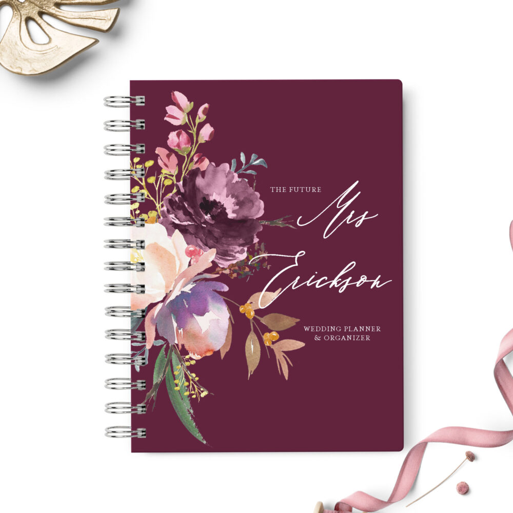 Wedding Planner Book, Event Planning Organizer, 6x8.75, Unique Gift For The Bride, Budget, Seating Chart Checklists, To Do List, Burgundy