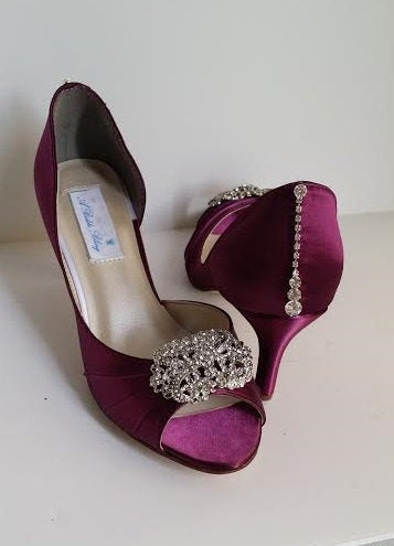 Burgundy Wedding Shoes Bridal With A Vintage Inspired Crystal Brooch Design & Heel Pick Your Color