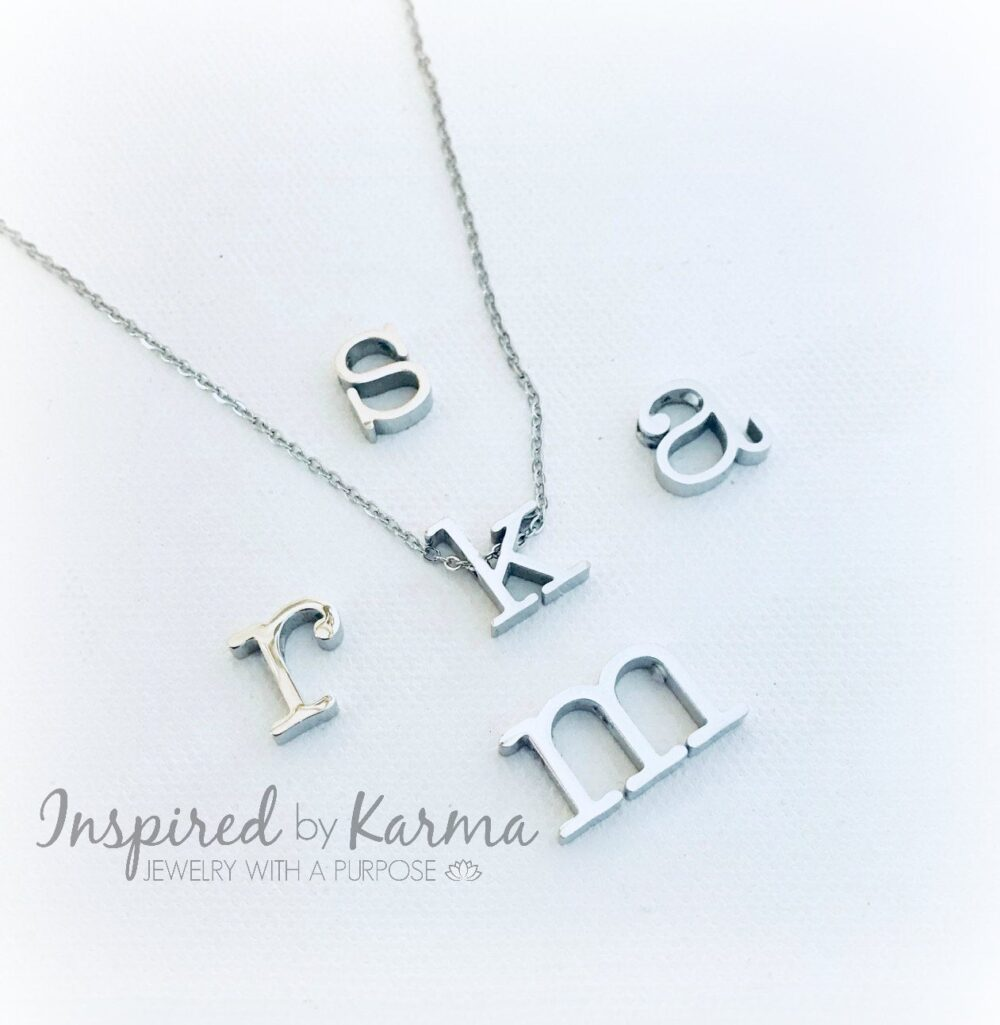 Initial Necklace, Stainless Steele, Silver, Personalized Bridesmaid Gift Wedding, Initial Monogram, Initial Jewelry, Stocking Stuffer, Lowercase