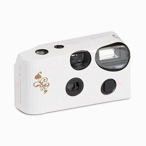 Single Use White With Gold Filigree Design Wedding Disposable Cameras   Pack Of 10 Camera Butterfly