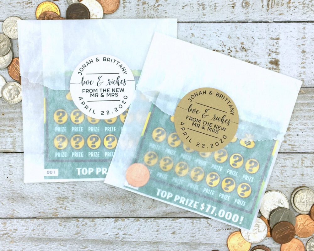 Lottery Ticket Favors - Unique Wedding Favor, Stickers & Bags For Lotto Scratcher Personalized Favors, Love & Riches