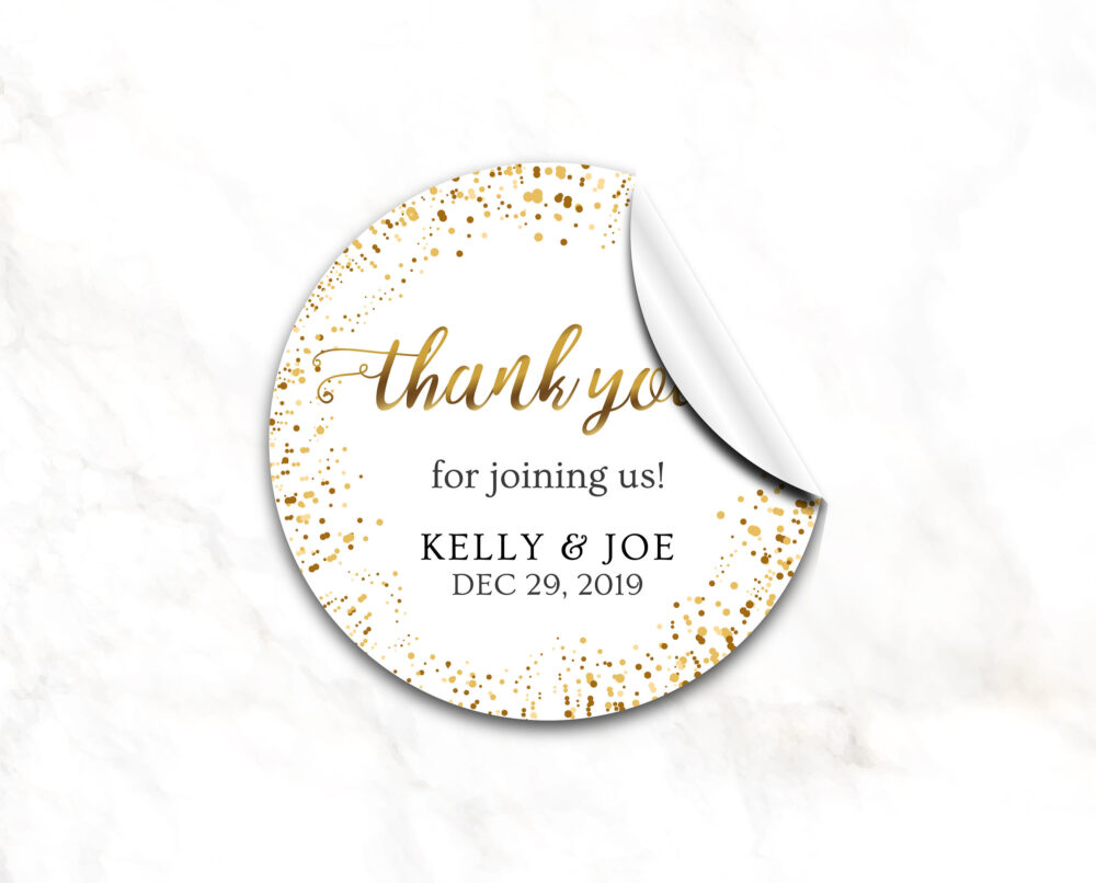 Wedding Favor Stickers, Gold Round Stickers, Personalized Thank You Glitter You Labels | 6