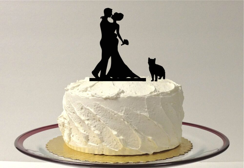 Made in Usa, Cat + Bride Groom Silhouette Cake Topper With Pet Family Of 3 Wedding And