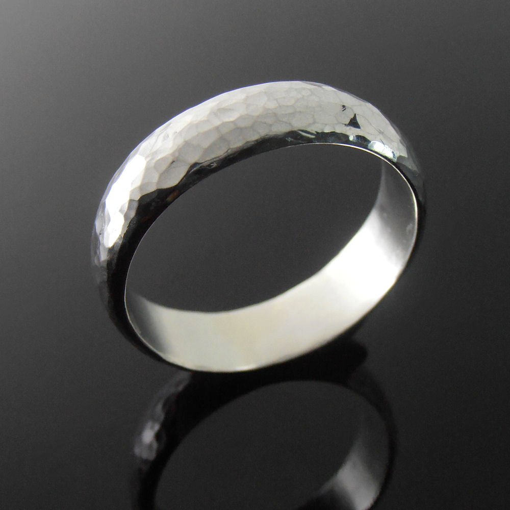 Hammered Sterling Silver Band Ring, Wedding Band, 5.9 X 1.6 Mm, Polished Finish