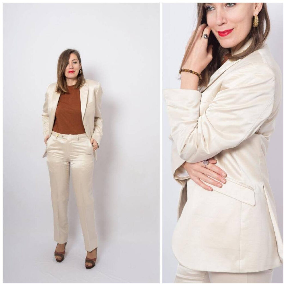 Carlo Pignatelli Pastel Womens Pant Suit Satin Blazer Pants Medium Size