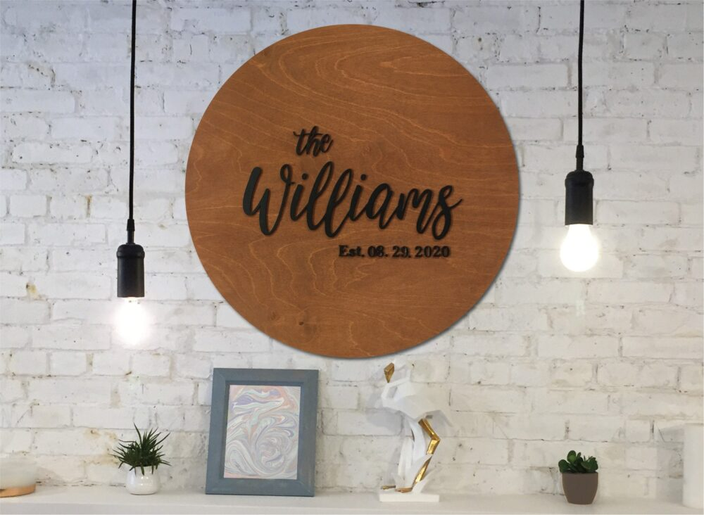 Last Name Wood Sign Guest Book Alternative, Family in Stain Or Custom Colors With Personalized Details, Black Text