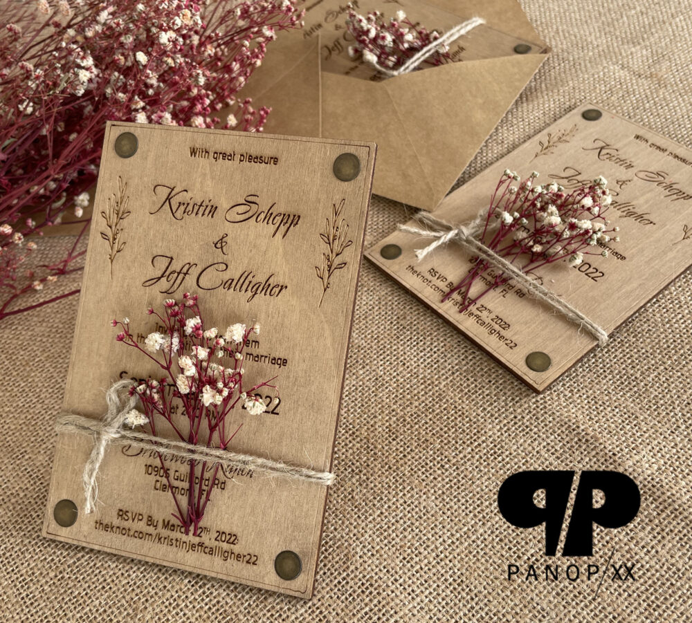 Floral - Real Wood Wedding Invitation Rustic Blush Flower Wooden Invitations