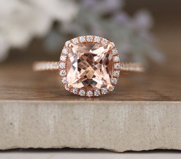 10K Rose Gold Bridal Ring, Morganite Engagement Diamond Wedding Band, Cushion 8mm Ring