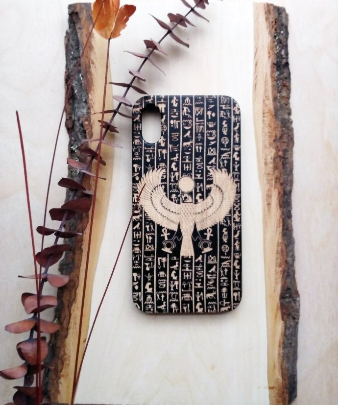 Egyptian Horus Design Wooden Phone Case Personalized Gift For Him Her Custom Engraved Iphone 11 Pro Max 6 7 8 Plus X Xr Xs Max