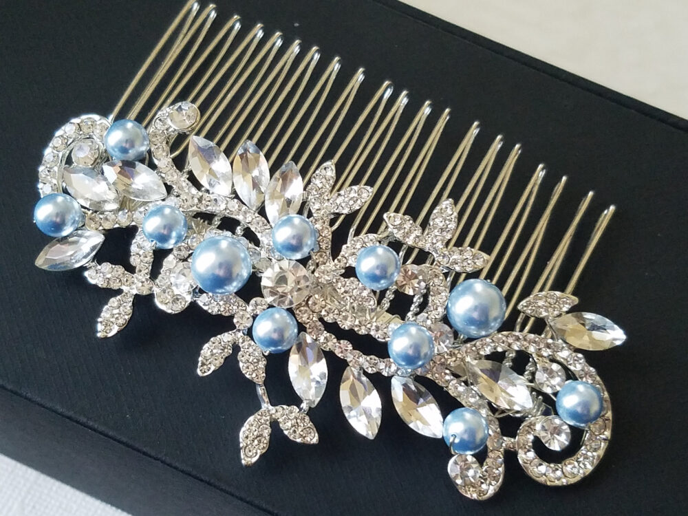 Crystal Blue Pearl Bridal Hair Comb, Swarovski Silver Piece, Wedding Headpiece, Light Floral Piece