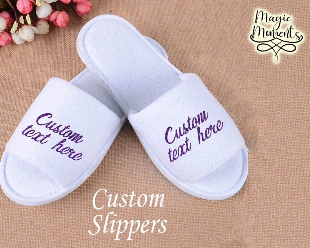 Customized Spa Slippers House Wear Open Toe White Bride Bridesmaid Gift For Her Wedding