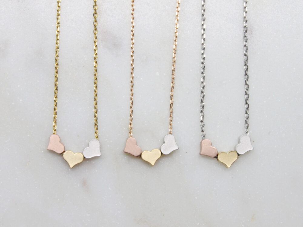 Tiny Triple Hearts Necklace, Three Gold, Silver, Rose Trios Heart Pendant, Gift For Mom, Friend, Wedding -S2357