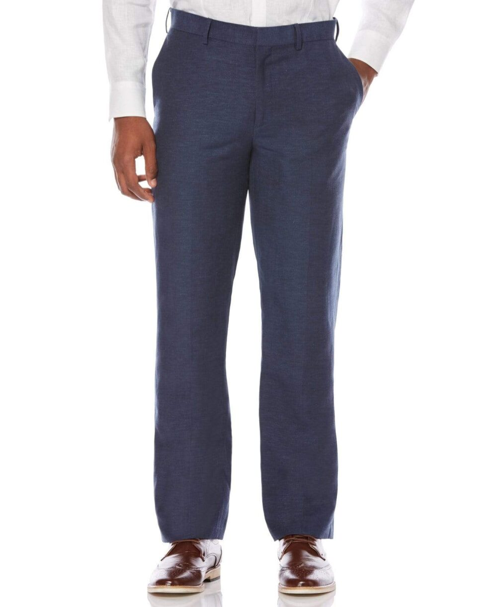 Cubavera Men's Big And Tall Flat Front Pants in Dress Blues, Size 44 x 32, Linen Blend