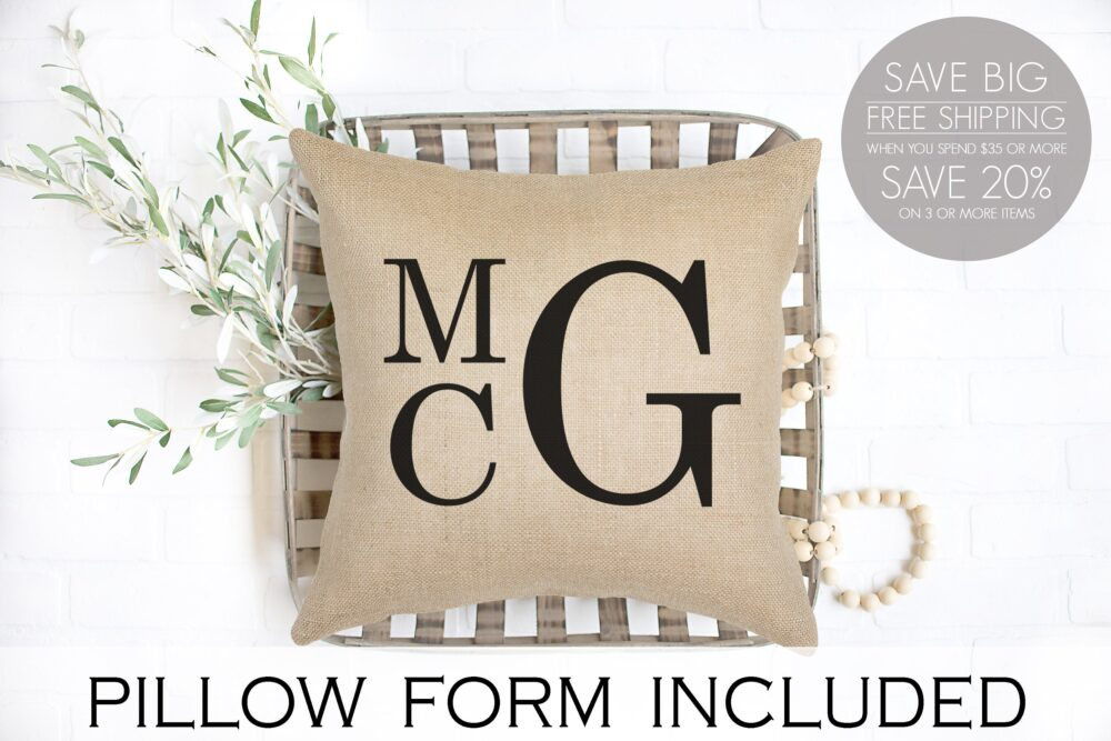 stacked Monogram, Personalized Wedding Gift, Pillow With Triple Initial Monogram