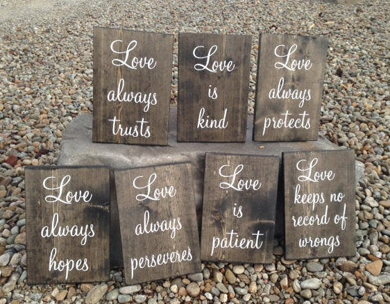 """Wedding Sign """"Love Always...."""" Bible Quotes. Corinthians 13. Rustic Aisle Runners. Decorations, Decor Hopes Trusts Kind Patient Protects"""
