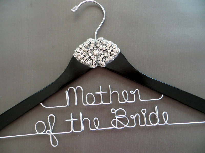 Mother Of The Bride Hanger, Groom Rhinestone 2 Line Crystal Wedding Personalized Gift For Mom