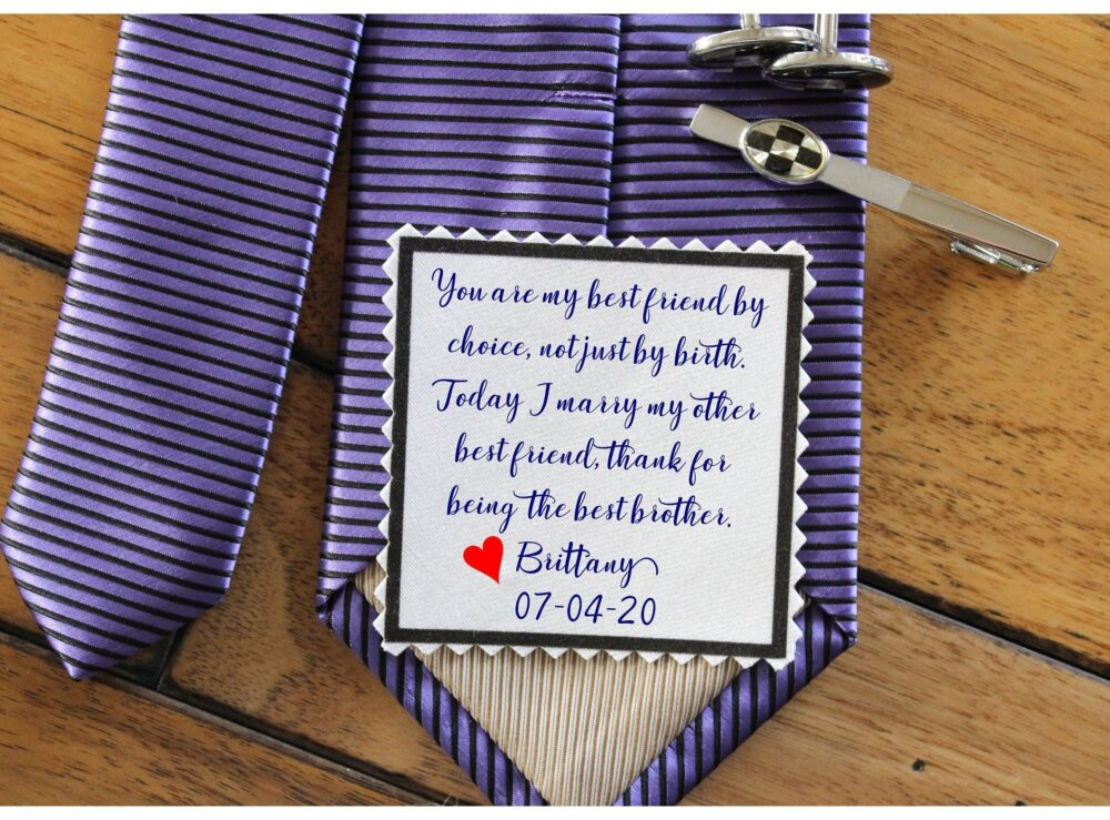 Brother Of The Bride Gift, Printed Tie Patch, Label, Heart Shaped, Wedding Gift-[T6]