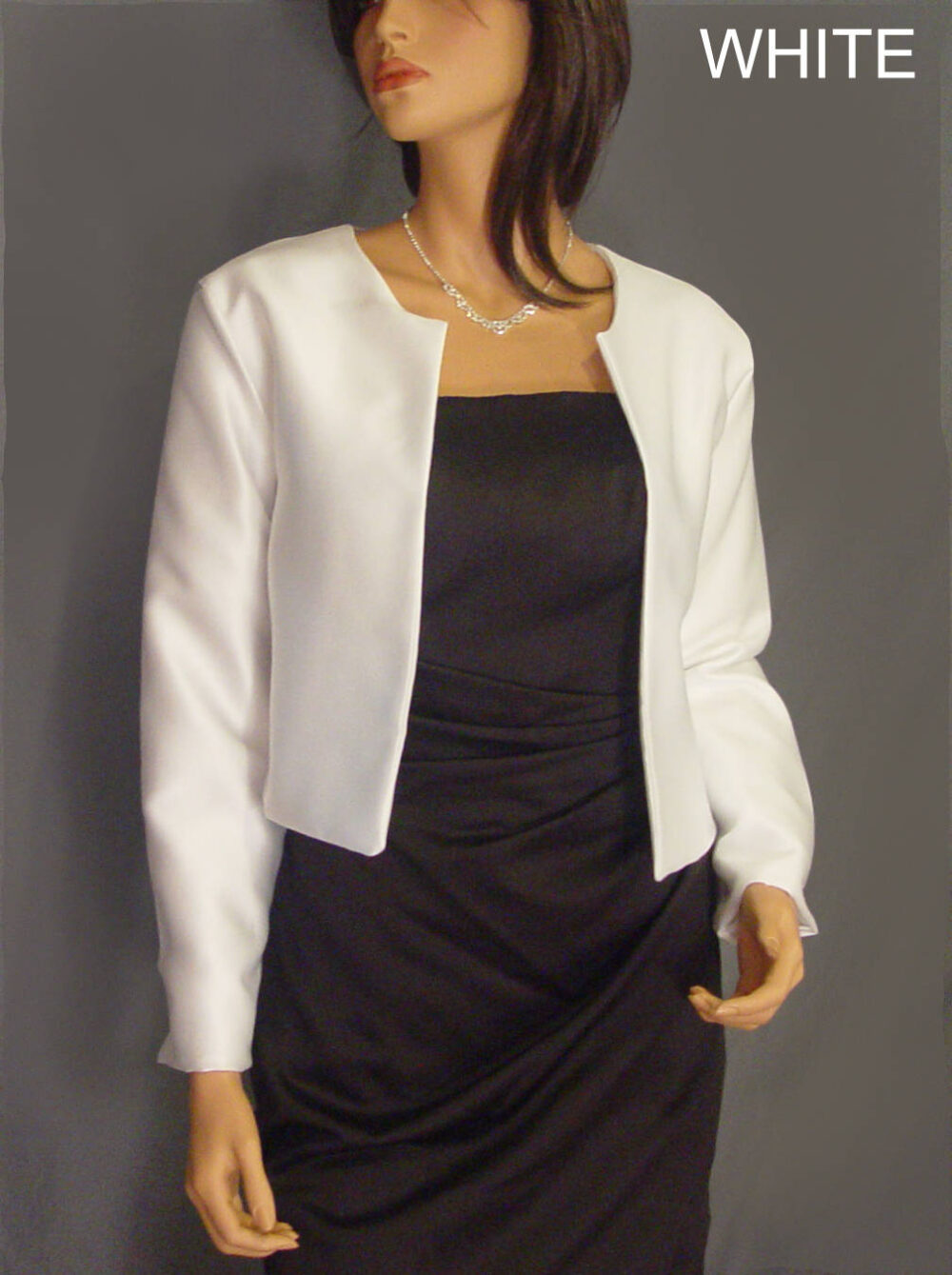 Satin Bolero Jacket With Long Sleeve Hip Length Wedding Shrug Coat Cover Up Sba130 Available in White & 5 Other Colors. Small - Plus Size