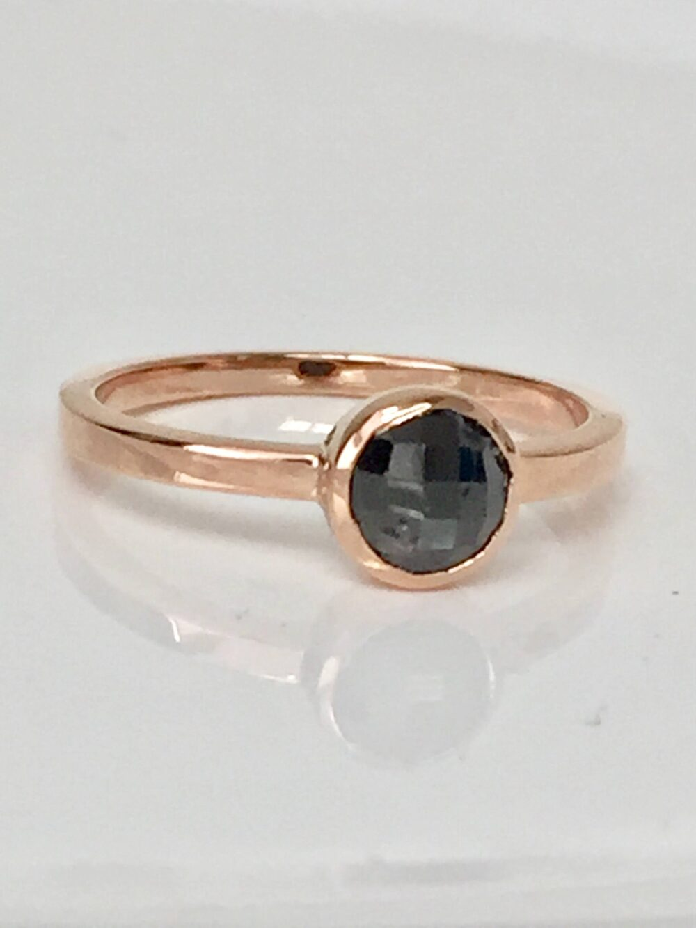 Delicate Diamond Ring, 14K Rose Gold Modern Engagement Black Solitaire, Bezel Petite Statement Delicate Cool Cute