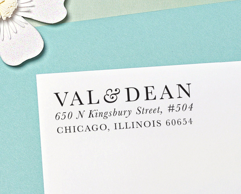 Custom Address Stamp, Self Inking Return Save The Date Wedding H105