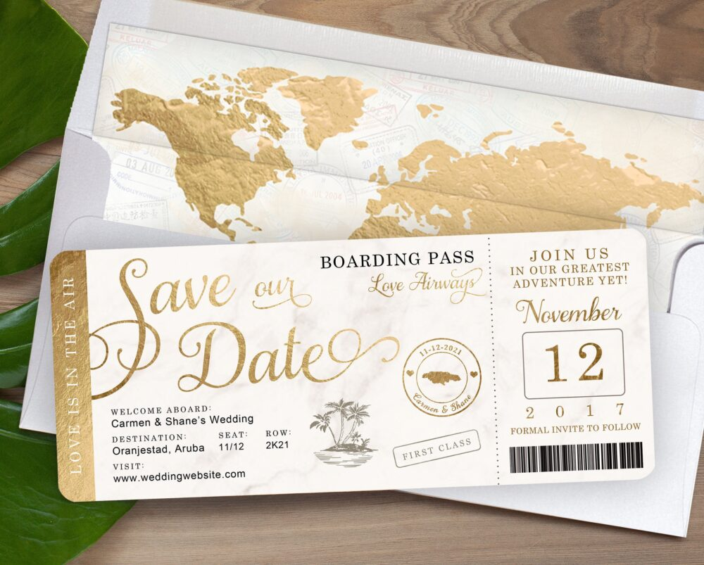 Destination Wedding Boarding Pass Save The Date Or Tropical Invitation in Gold Foil & Marble - See Item Details To Order