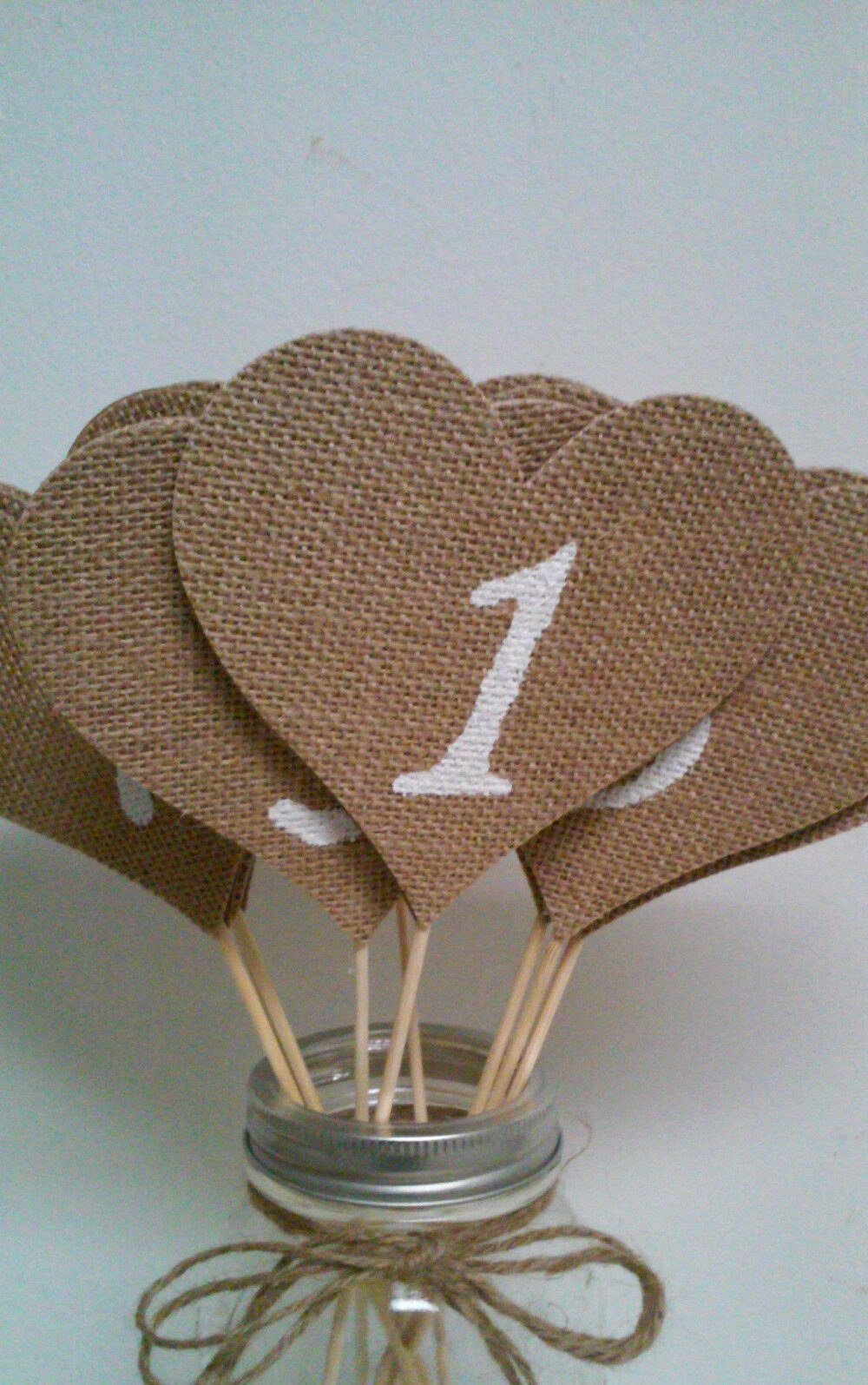 Burlap Hearts Table Numbers, Rustic Wedding Baby Shower, Bridal Shower Numbers