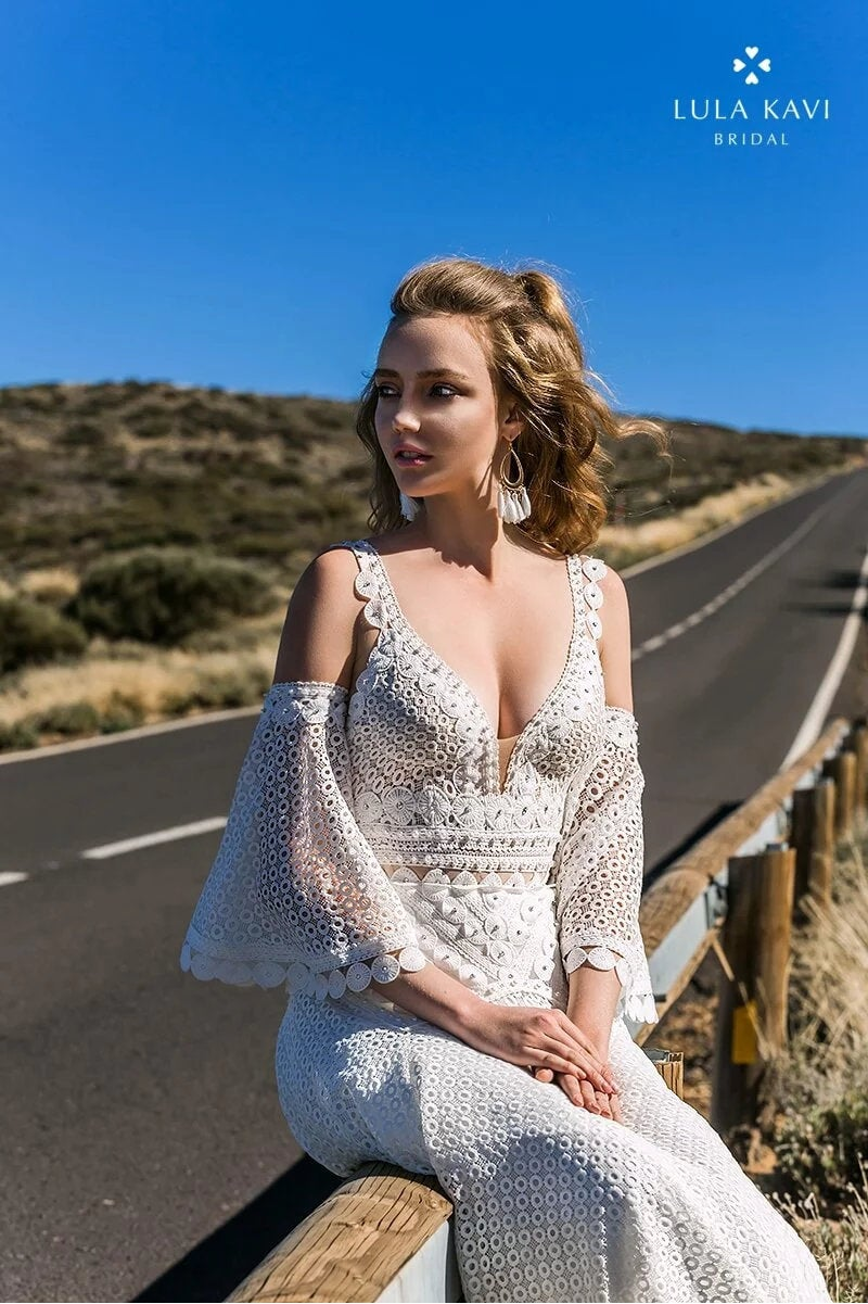 Boho Bohemian Style, Detachable Bells Sleeves, Deep V Neck, Backless Gown Crochet Lace A Line, Chic, Modern Wedding Dress. Talisa Gown