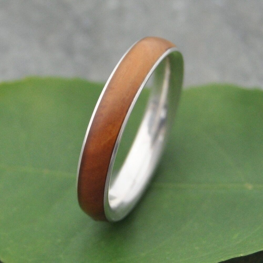 Lignum Vitae Wood Wedding Band Comfort Fit Recycled Sterling Silver - Eco-Friendly Wood Wedding Band, Ring, Mens Ring