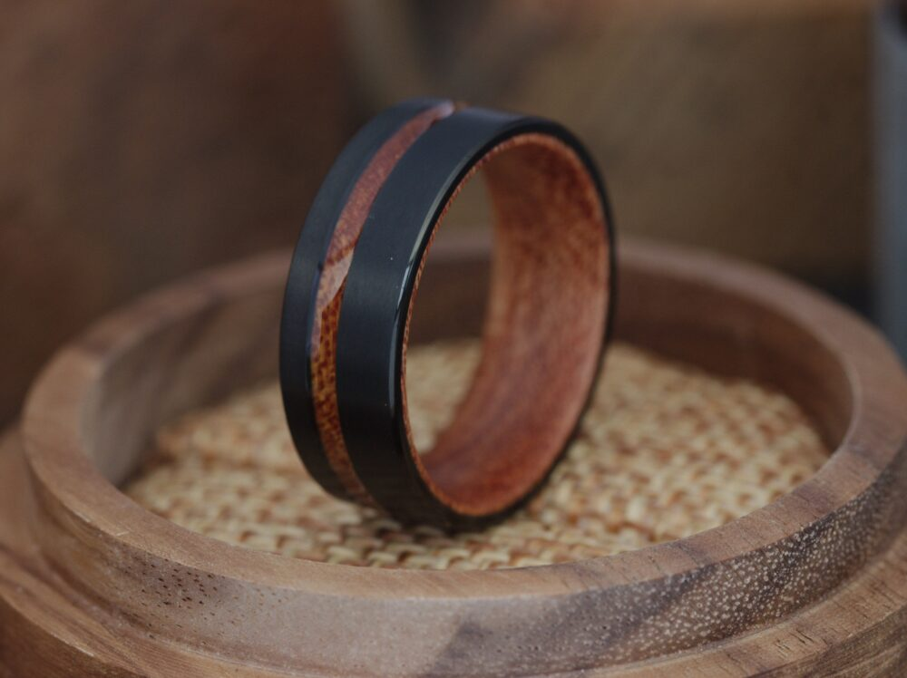 Mens Wood Wedding Band Ring - Brushed Black Band, Titanum Inlay 8mm Unique Wooden Rings For Men