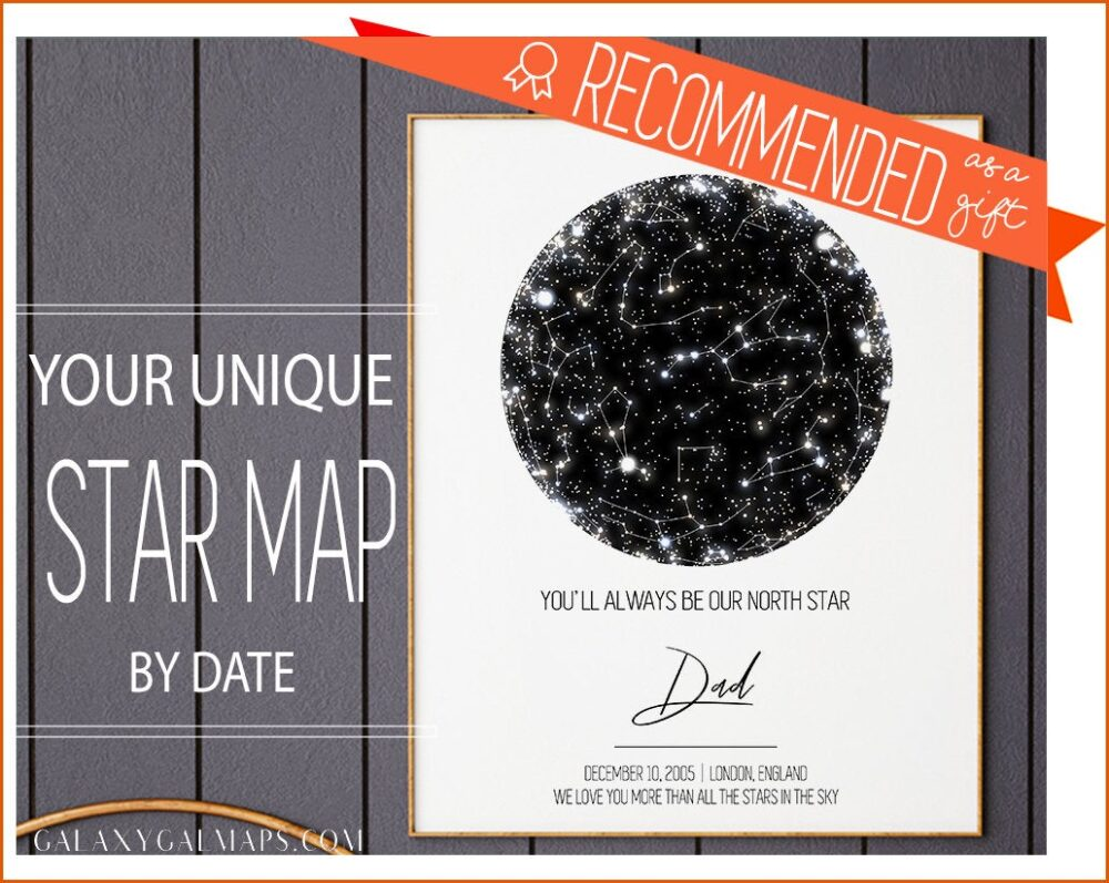 Gift For Father | Custom Star Map Printable Thank You Dad Personalized Hero From Kids |Fathers Day Fathers Birthday