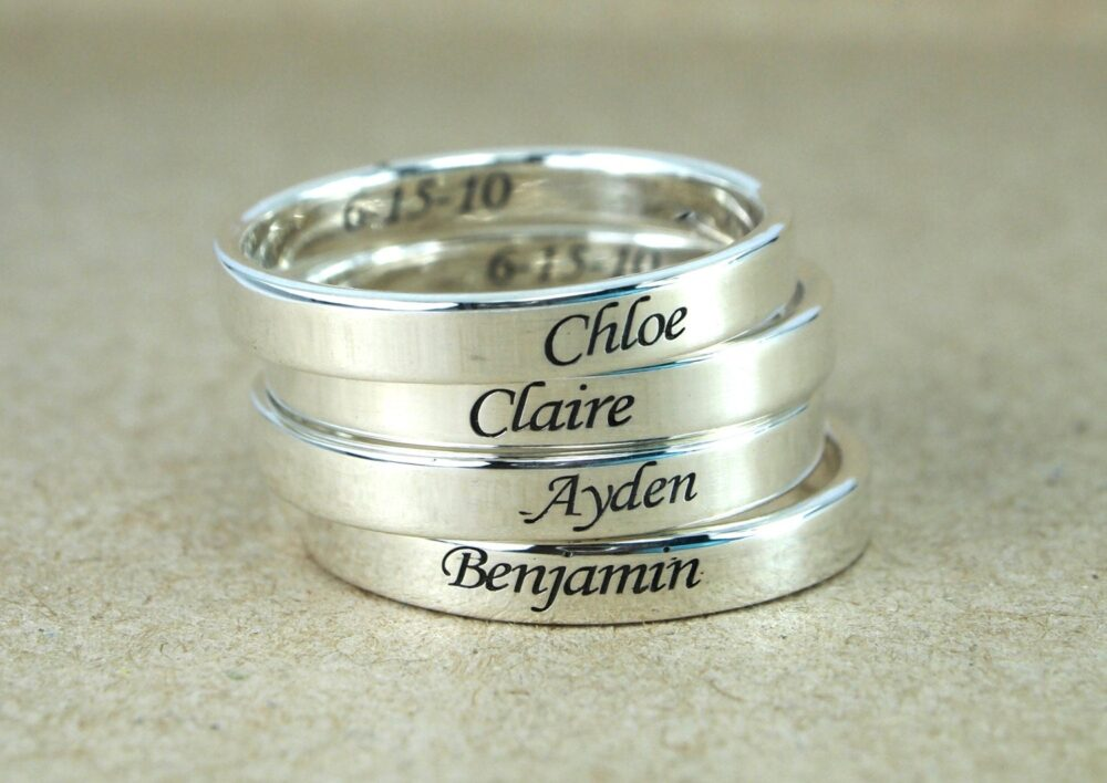 Custom Name Ring Band Ring, Sterling Silver Personalized Promise Mothers Stackable Baby Date