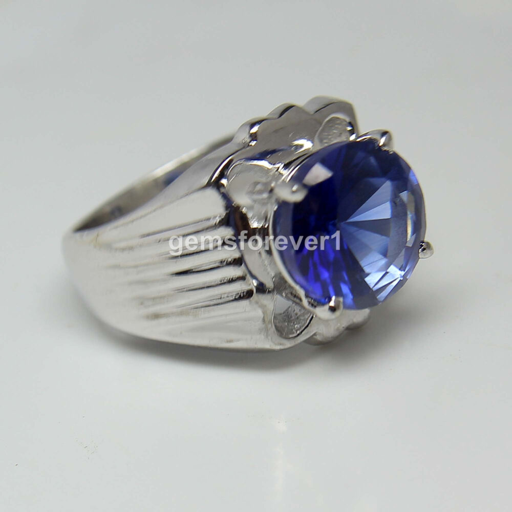 Tanzanite Men Ring-Blue Stone Men's Ring-Gemstone Ring-Gift For Him-925 Solid Silver Ring-December Birthstone Ring-Large Ring
