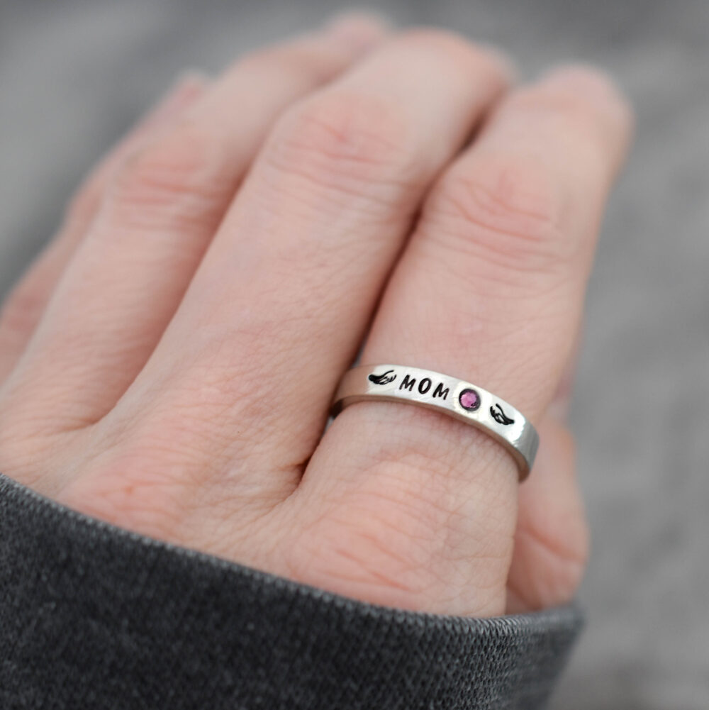 stacking Ring, in Memory Of Mom Loss Memorial Winged Name Birthstone Angel Wing, Minimalist, Dad Loved One Ring