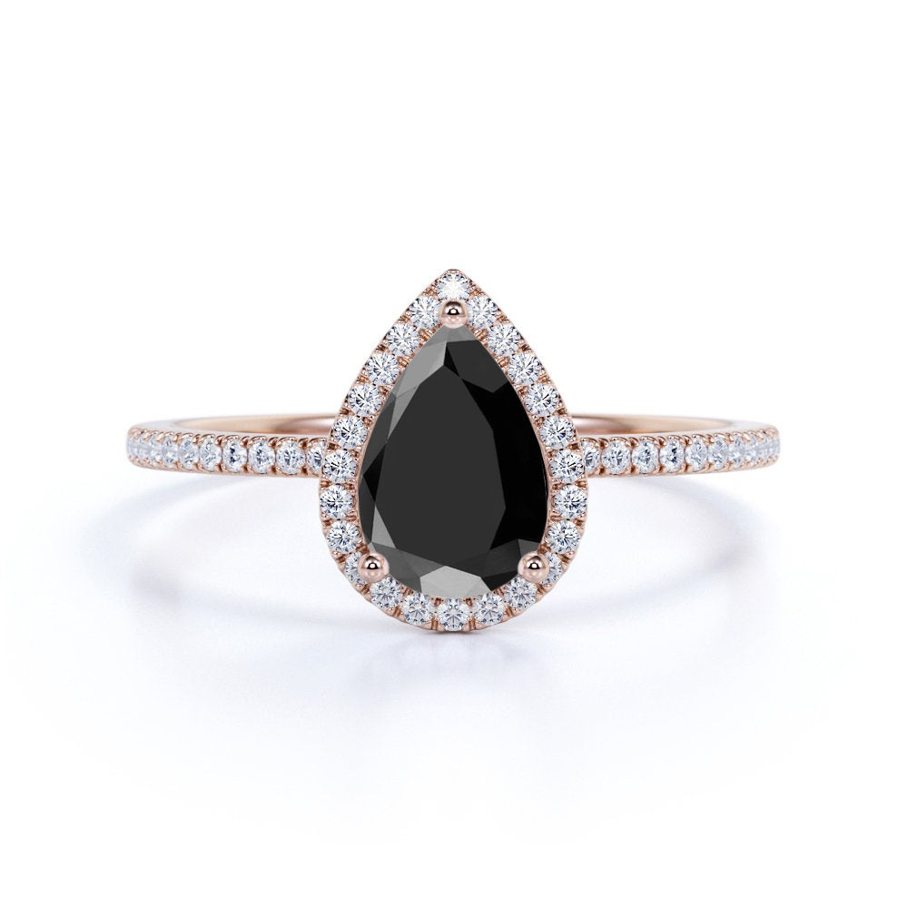 Pear Black Diamond Engagement Ring, Vintage Wedding Ring, Rose Gold, Modern Bridal Gemstone Anniversary Gift