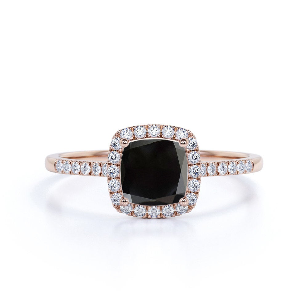 Classic Cushion Cut Black Diamond Engagement Ring in 14K Real Rose Gold. Unique Wedding Ring, Silver Woman Promise